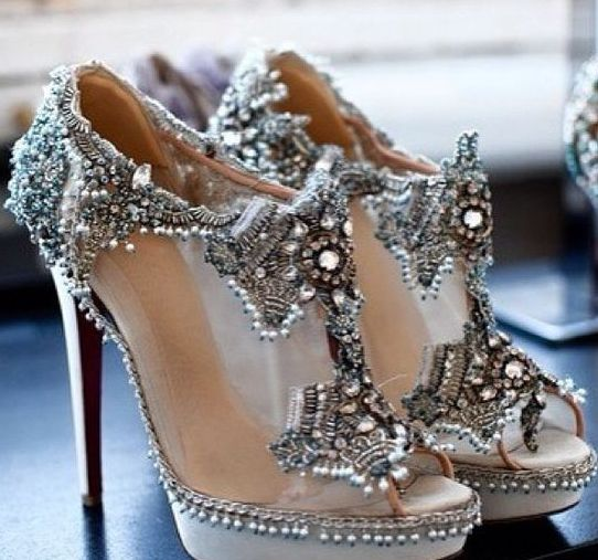 modern sheer high heels with heavy beading