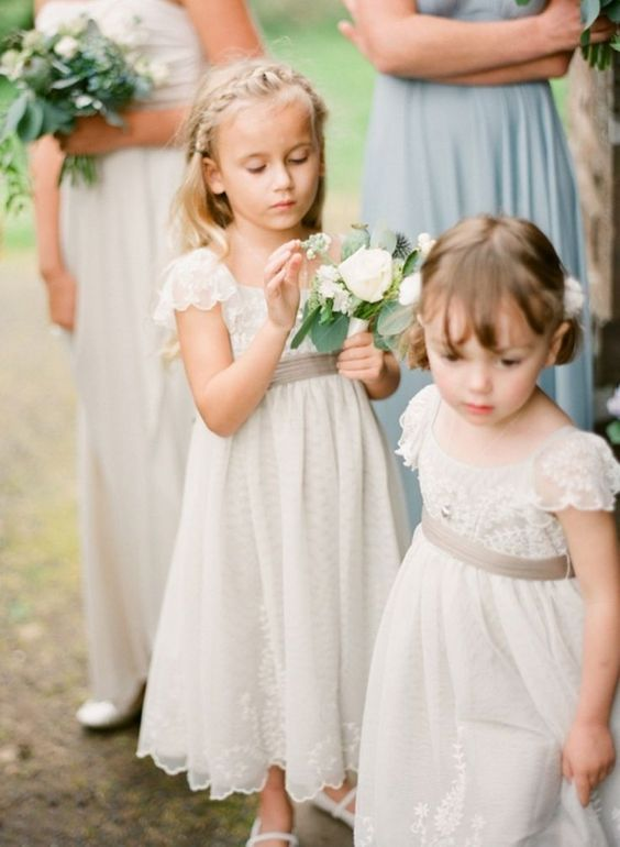 vintage-inspired ivory lace dresses with cap sleeves and grey sashes
