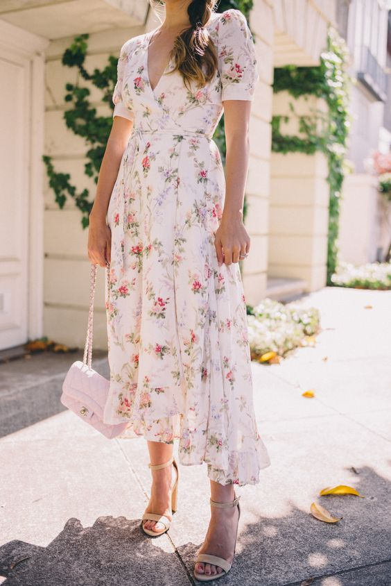 subtle floral midi dress with short sleeves and a V cut, nude heels and a blush bag