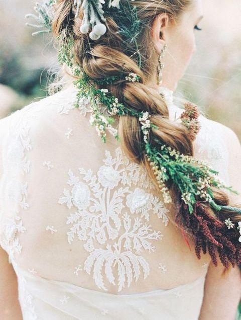 a braid with greenery for a woodland wedding