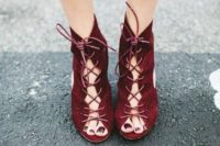 19 burgundy suede booties with lacing up