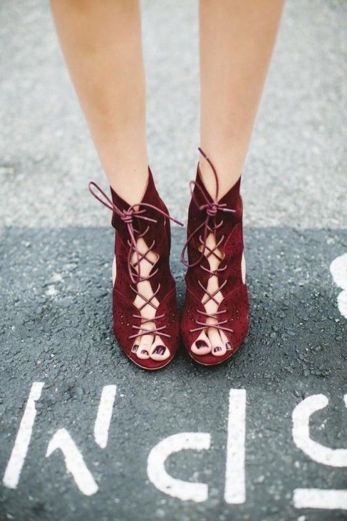 burgundy suede booties with lacing up