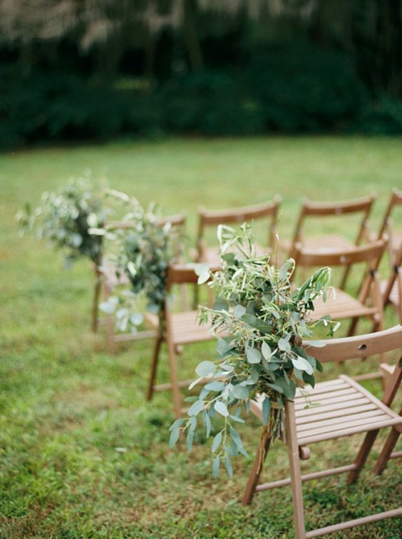 messy greenery wedding aisle decor is great for a hot day