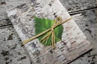 20 birch bark invitation topped with a green leaf