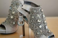 20 grey suede booties with heavy beading and rhinestones on stiletto heels
