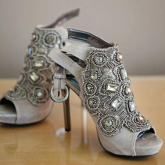 grey suede booties with heavy beading and rhinestones on stiletto heels
