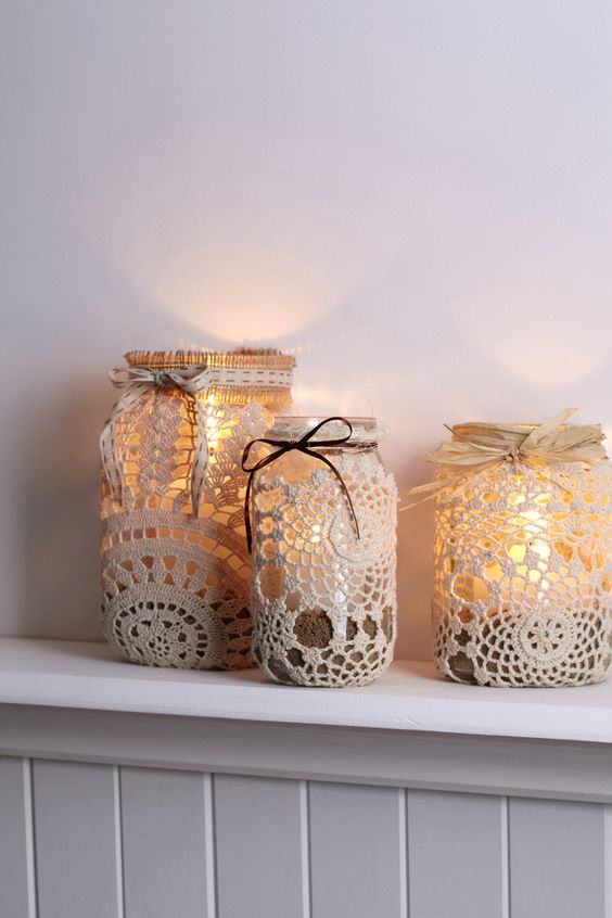 doily covered mason jars can become cute lanterns