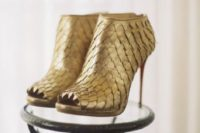 21 unique gold scale peep toe booties with stiletto heels