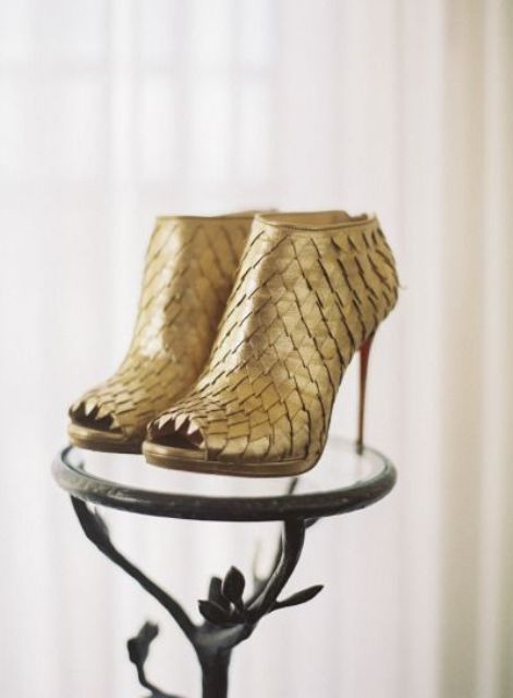 unique gold scale peep toe booties with stiletto heels