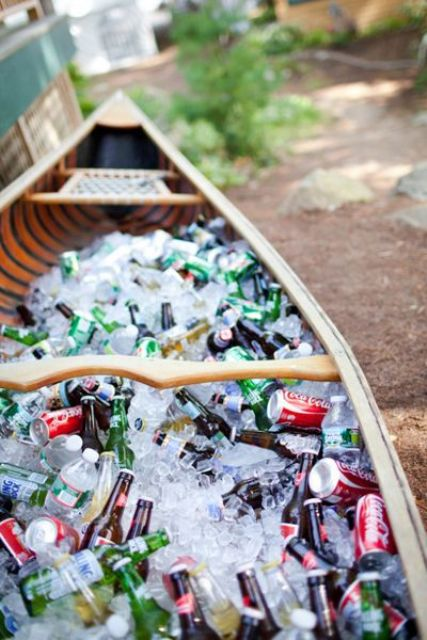 use a boat filled with ice to store drinks