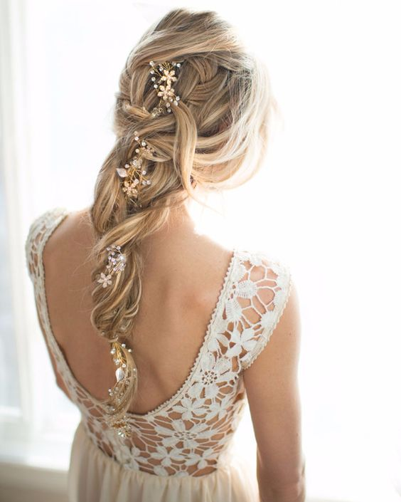 messy wedding braid with a beaded hair vine