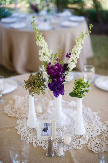 Picture Of Milk Glass Bud Vases And Doilies For A Simple Delicate