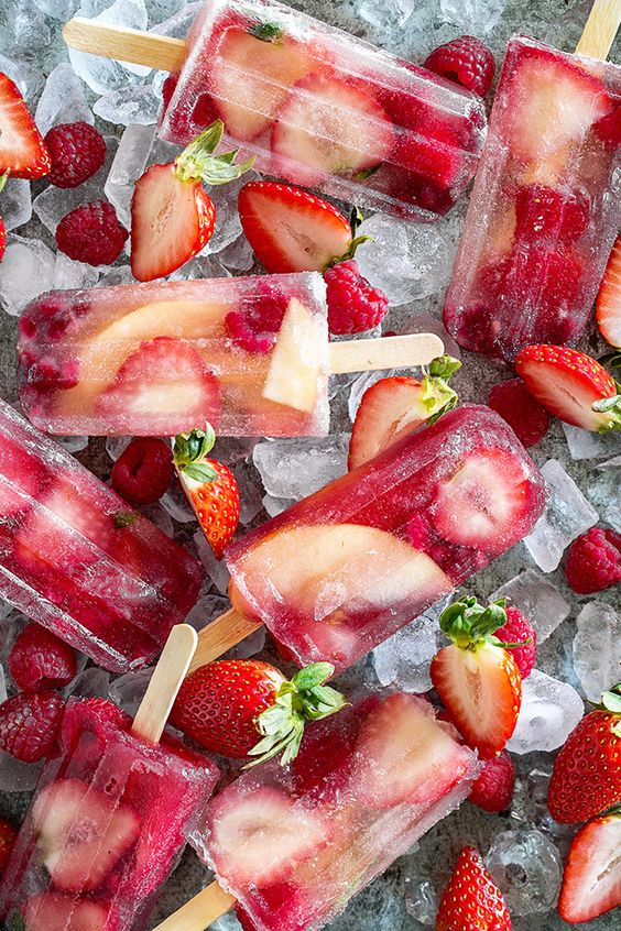 strawberry and champagne popsicles