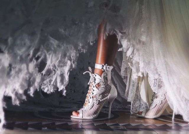 ultra-modern wedding peep toe booties with lacing up and a cutouts