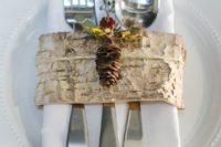 23 birch bark strips instead of utensils and napkin rings