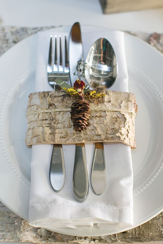 birch bark strips instead of utensils and napkin rings