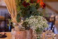 23 glittered mason jars with wheat, flowers and leaves plus pumpkins