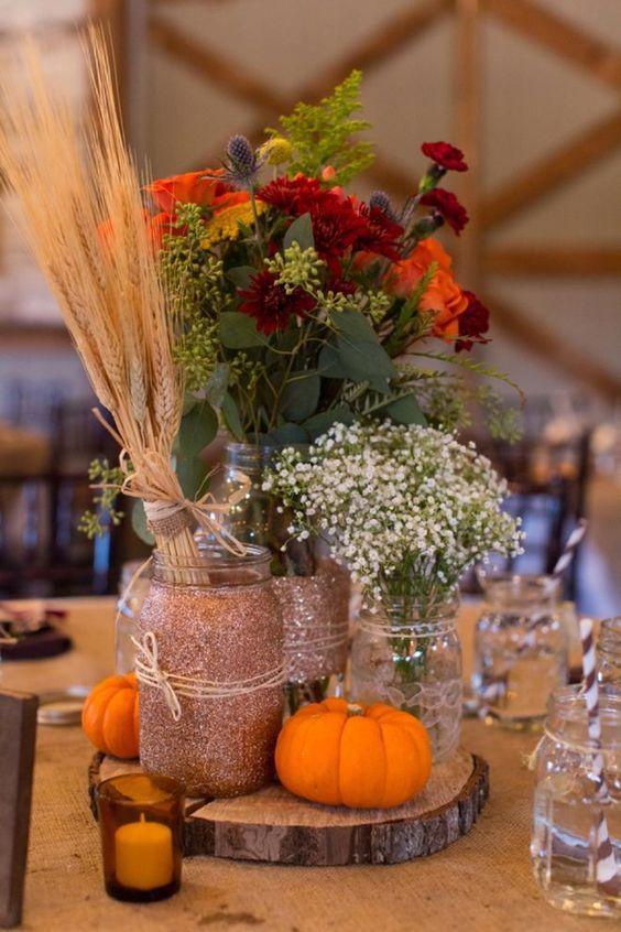 Mason Jar Wedding Centerpieces 27 Good glittered mason jars with