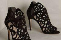 23 suede laser cut peep toe black booties