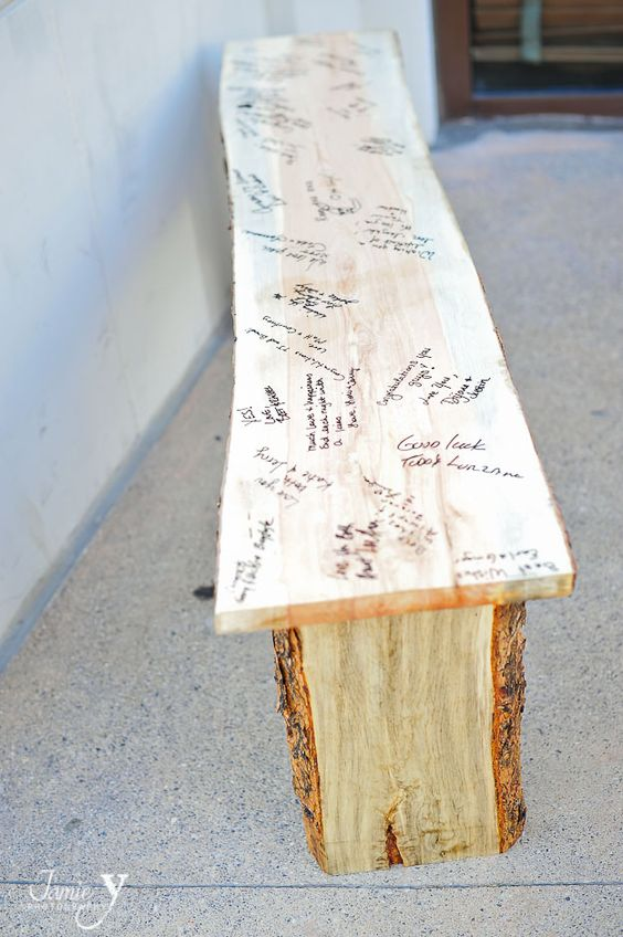 a wooden bench instead of a usual guest book