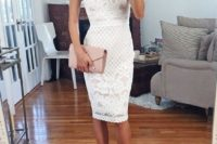 24 halter neckline white lace dress, nude heels and a blush clutch