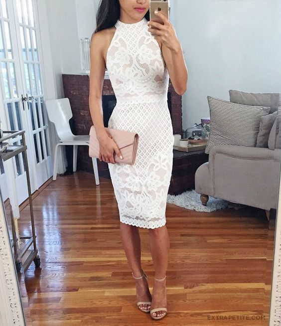 halter neckline white lace dress, nude heels and a blush clutch