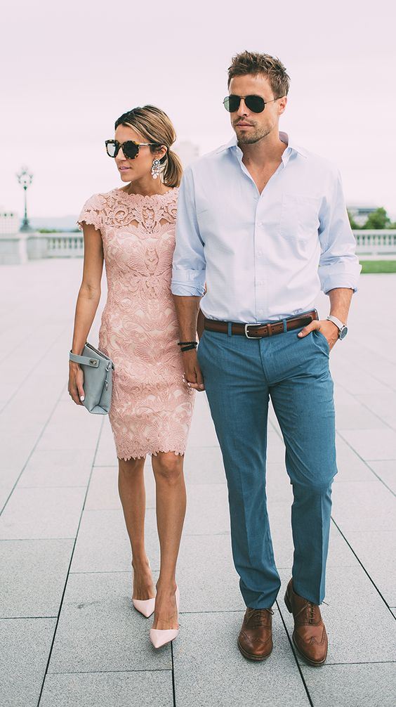 a blush lace pencil dress with cap sleeves and blush pumps, statement earrings