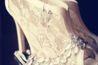 25 lace peep toe wedding booties on stiletto heels