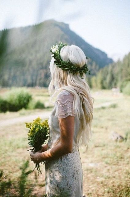 loose waves and a fresh greenery floral crown is a great choice for summer