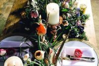 25 whimsy floral decor with candles and lavender napkins for a secret garden wedding