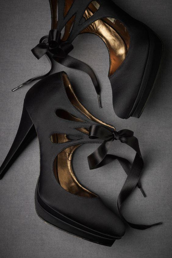 black satin platform high heels