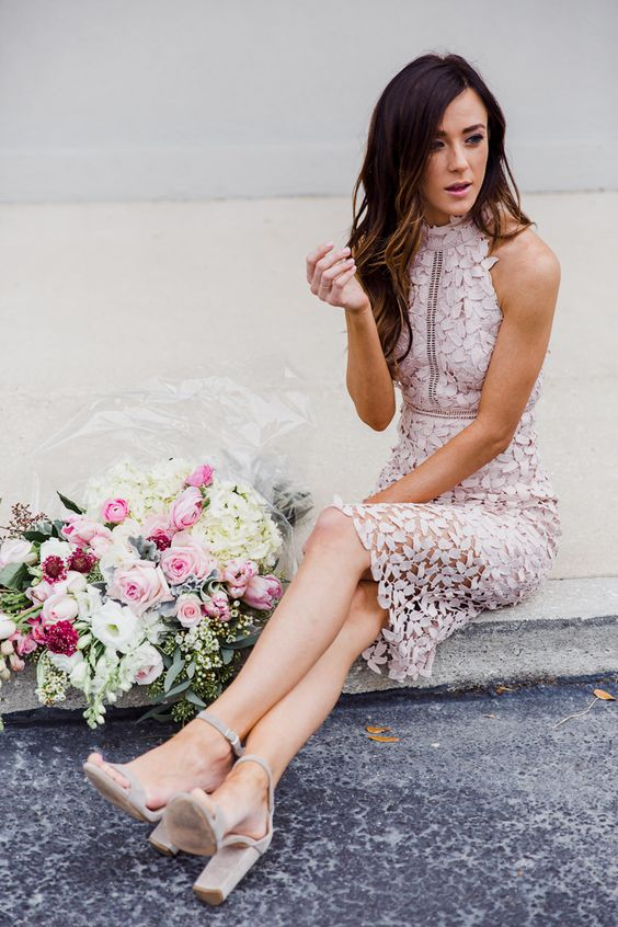 halter neckline blush petal dress and nude heels
