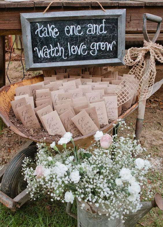 seeds as rustic wedding favors served in a garden trolley