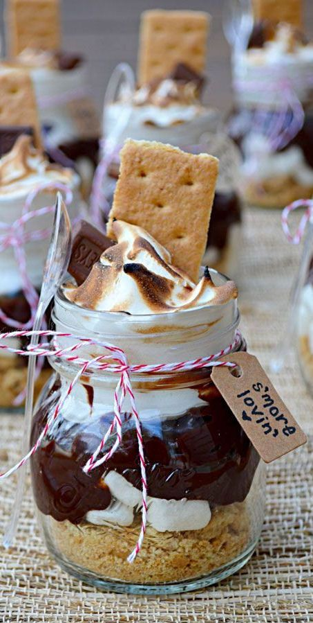 s'mores in jars are traditional for any rustic outdoor weddings