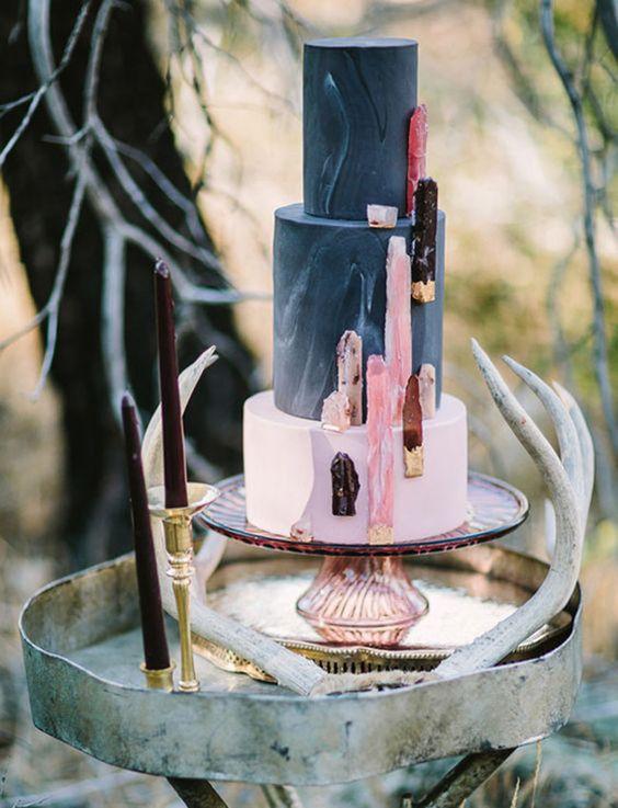 black marblized geode wedding cake