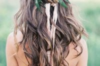 28 loose waves with a braid and a leaf crown look boho