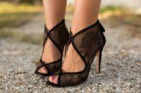 28 sheer black cutout booties with peep toes