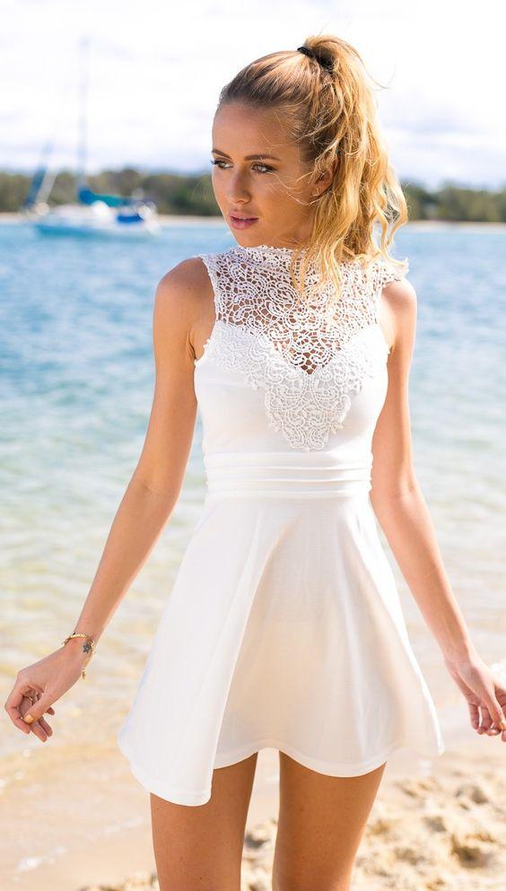 white high neckline crochet skater mini dress