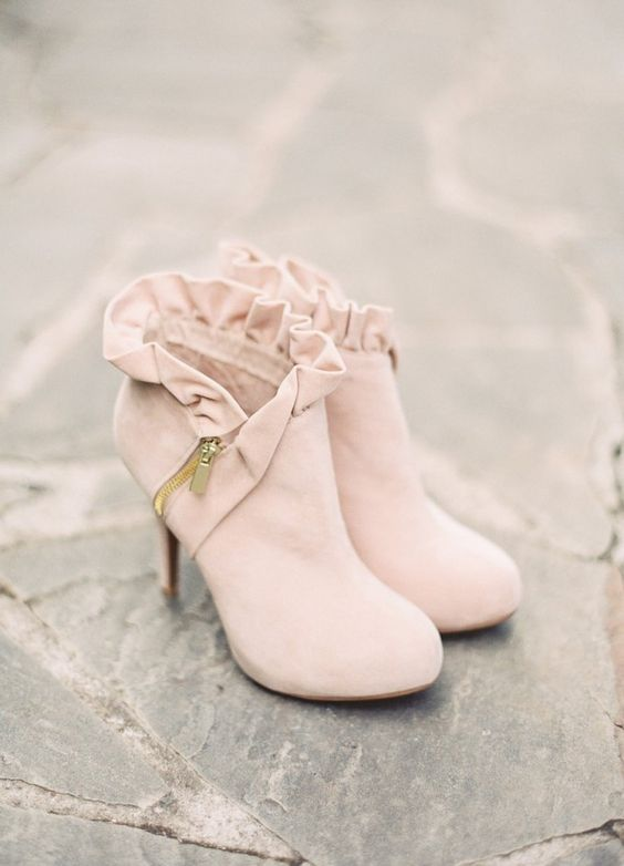 blush suede ruffled booties