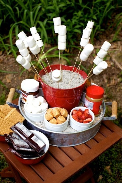 mini s'mores station for outdoors is always a nice idea