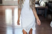 29 white textured fitted dress and grey sandals