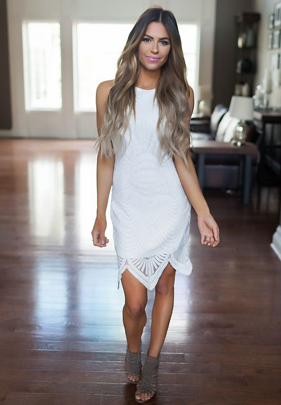 white textured fitted dress and grey sandals
