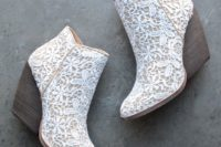 30 lace booties in cowvoy style and with large heels