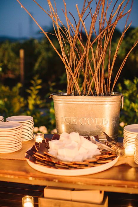 s'mores wedding bar with chocolate and marshmallows