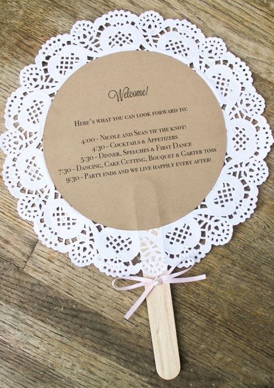 a doily wedding program fan can be easily DIYed