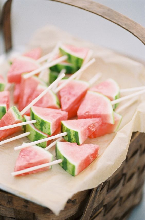 watermelon pieces on skewers are a great idea