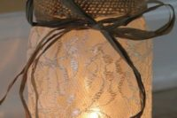 32 a lace candle lantern with burlap and twine