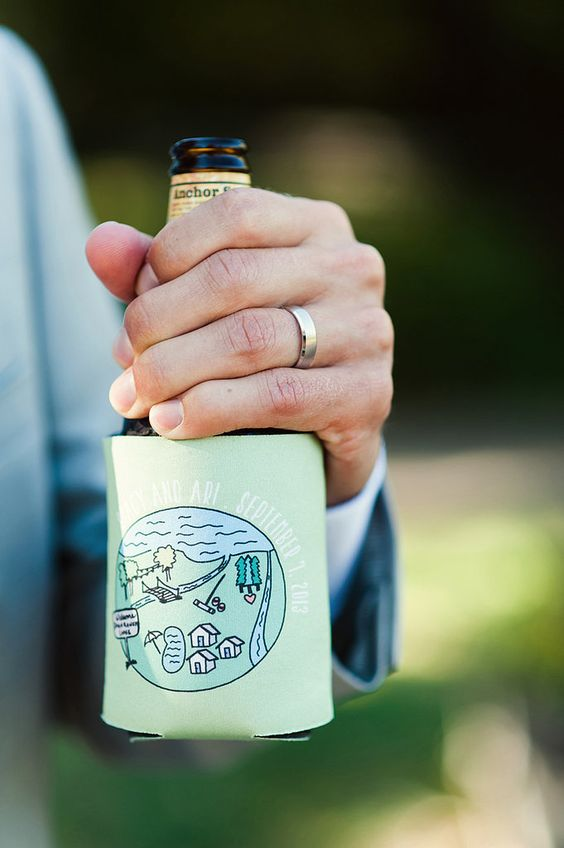alcohol bottles covered with the wedding date paper