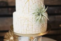 32 geometric wedding cake with an eye-catchy pattern and an air plant