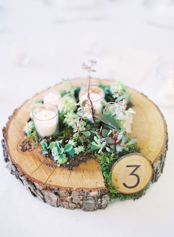 a wood slice with moss and succulents, candles and a table number